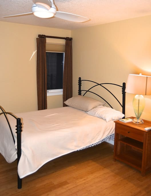 Full size mattress, private room upstairs, shared bathroom with shower and tub