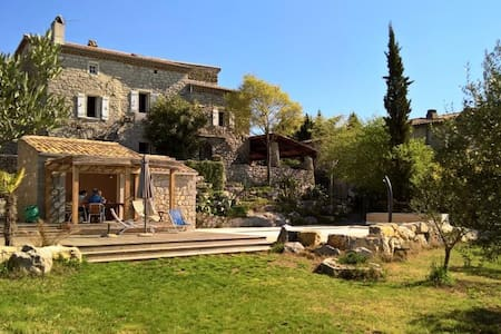 Stone house with view and swimming pool-
