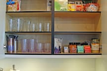 We provide you with a wide variety of teas (herbal, flavored, decaf and black), coffee (regular and decaf), creamers, sugar, stevia, travel mugs, cutlery, toaster, coffee maker, and more.