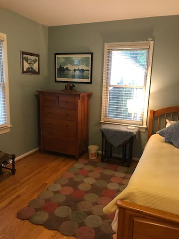The peaceful third Bedroom, also overlooking the garden, has a twin bed - with twin trundle bed if needed