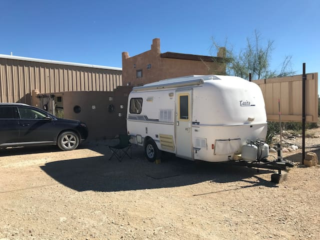 Casita travel trailer in the Ghost Town