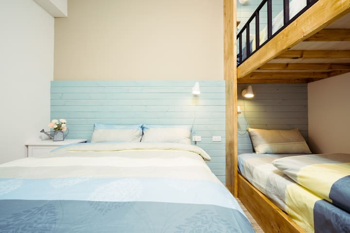 Private room with own bathroom(one double bed + two single bed).