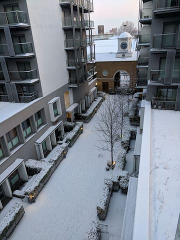 view from balcony in the snow