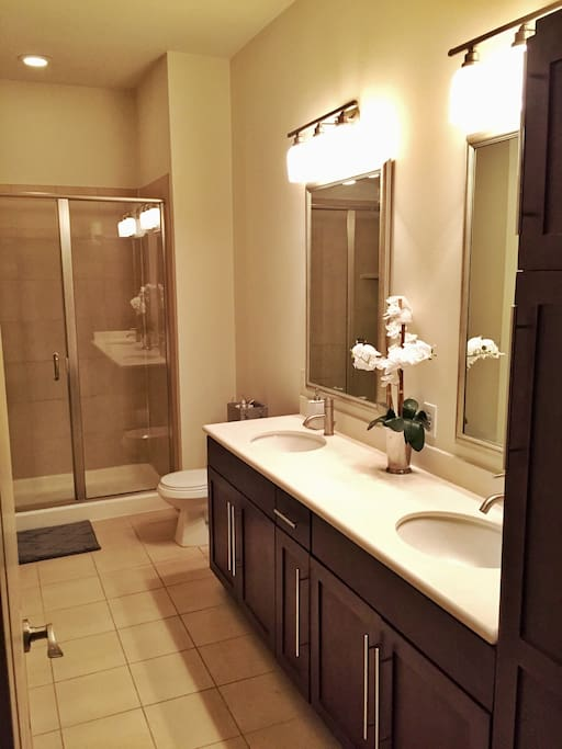 Another Bathroom with walk-in shower, dual vanities, and closet