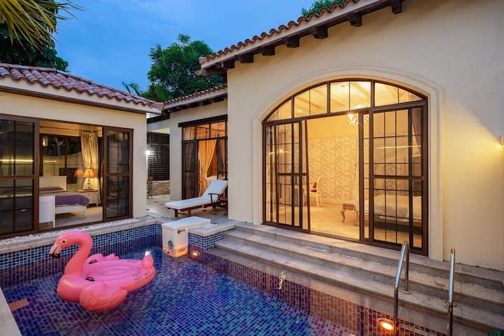海棠湾近免税店、亚特兰蒂斯酒店、海边、沙滩、私人泳池豪华两房别墅(几米旅游民宿H6)
