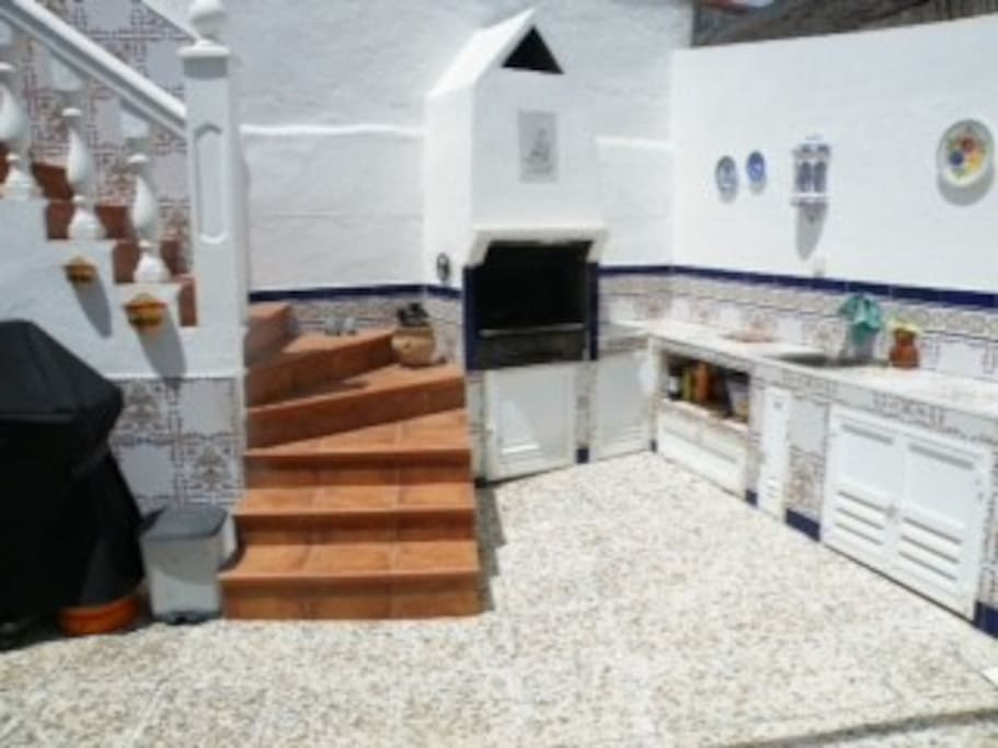 Steps Leading To Roof Terrace, Outdoor kitchen and BBQ