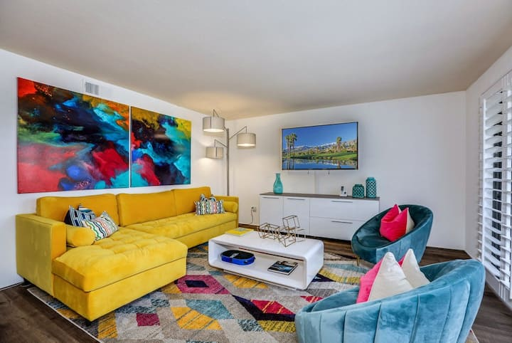Colorful condo w/ a private balcony, gated entrance, shared pools, & hot tubs!
