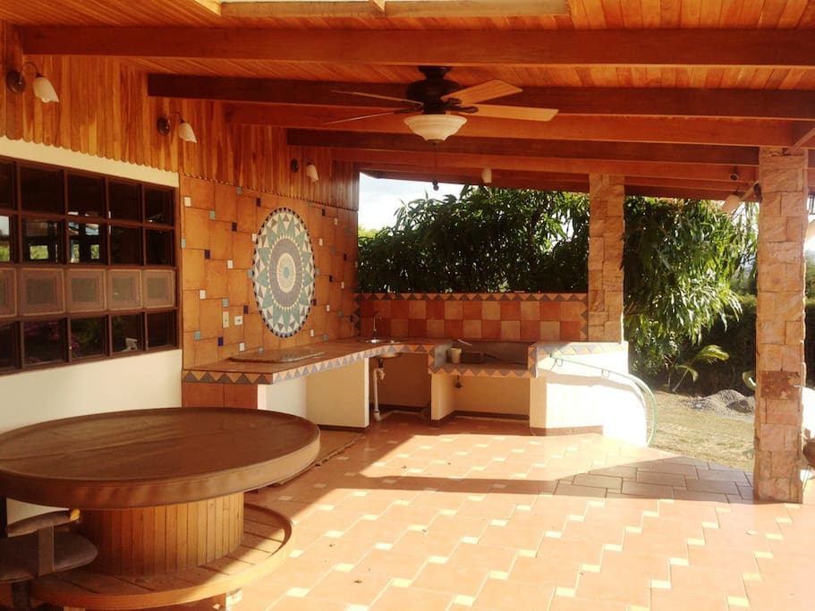 Outdoor kitchen on front porch