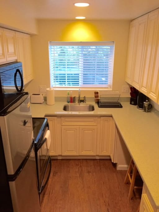 Kitchen equipped with microwave, oven, stove top and fridge