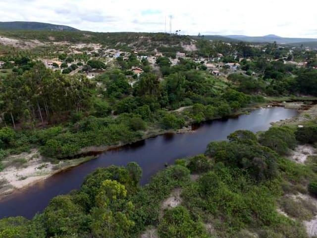 Rio Preto, fundo da Pousada Villa Bella