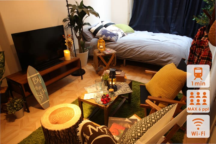 Honmachi st. 1min,Outdoor style,wood focused room
