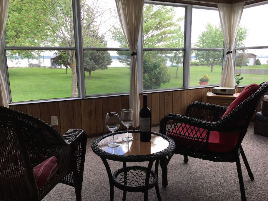 Enclosed Front Porch with views of Lake Winnebago