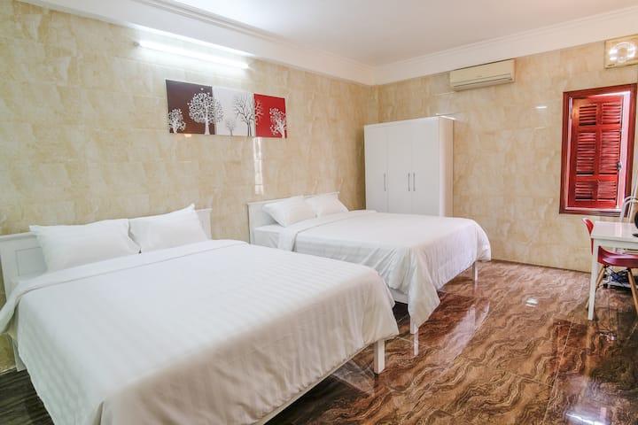 Room with 2 big beds near Ho Chi Minh Mausoleum