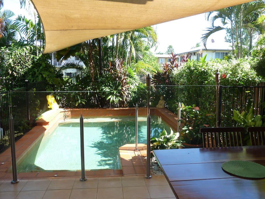 Private pool, fully fenced in tropical garden.