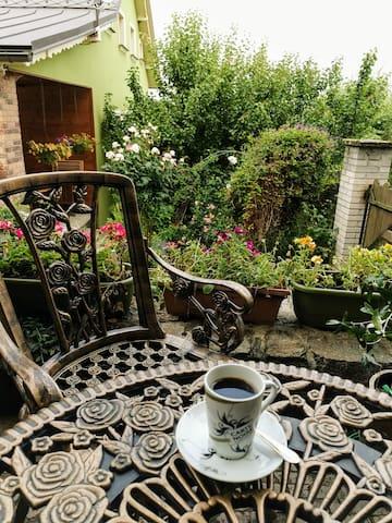 Probuzení za zpěvu ptactva, snídaně na terase