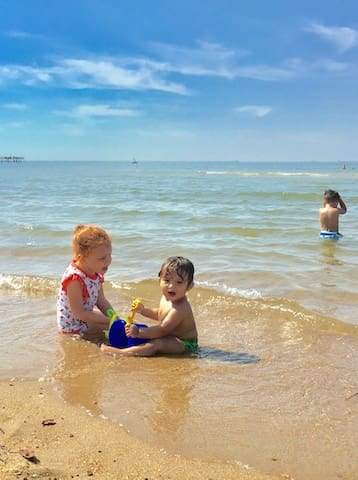 The beach is calm & safe  for very young children