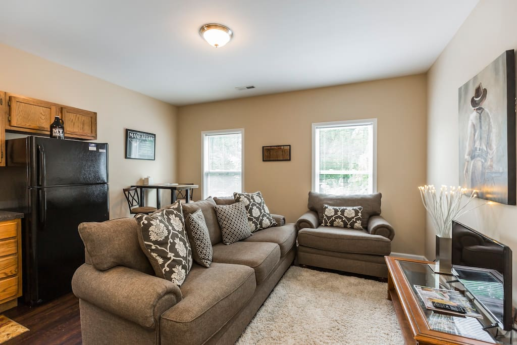 Relax on this new couch and over-sized chair while reading a magazine or watching TV.