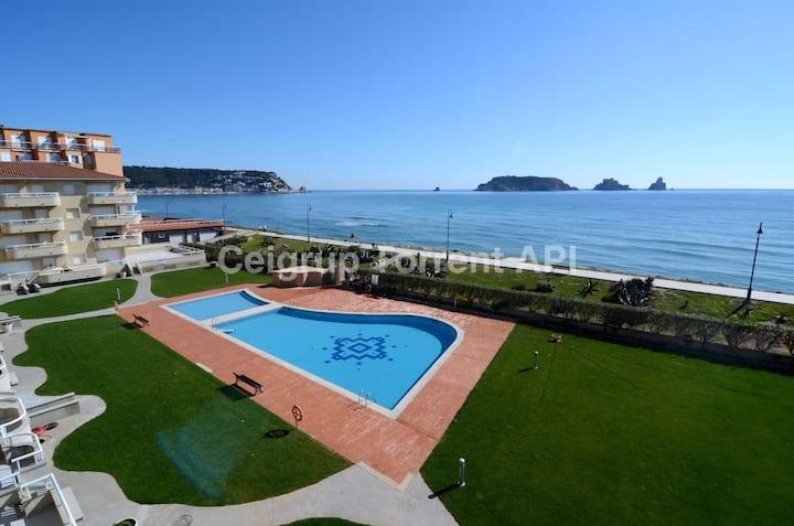 Charmant studio face à la mer et avec piscine!