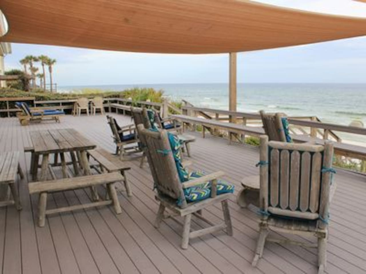 1200 SF deck with private stairs to the beach
