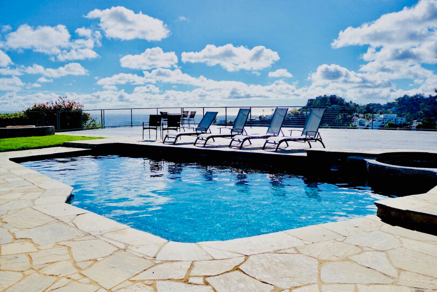 Enjoy our huge yard area, pool, and expansive deck with full 220-degree views of the Hollywood Hills and entire city of Los Angeles! PLEASE NOTE NO JACUZZI ACCESS.