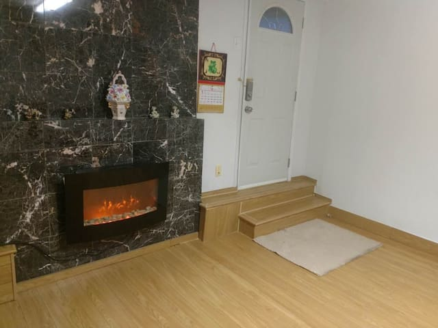 Living Room (Electric fireplace and private entrance door)