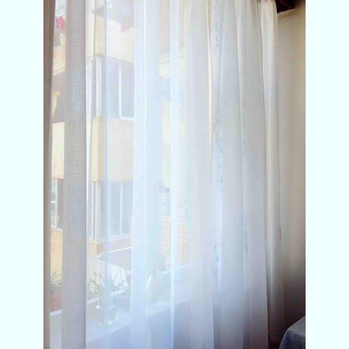 房间窗帘,清新飘窗