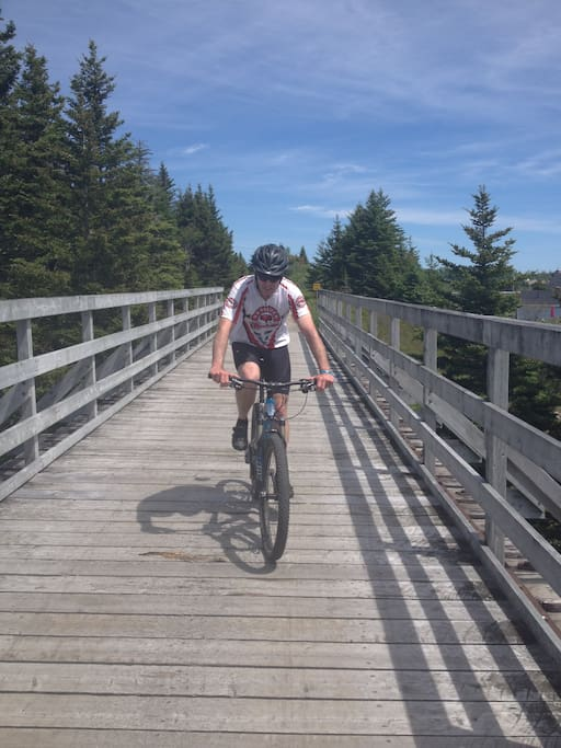 Located on Rail Trail for walking and cycling.