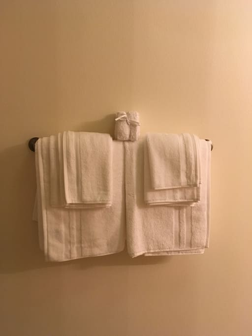 Set of fresh towels with wash cloth, for you