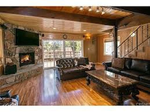 living room with sliding doors to porch