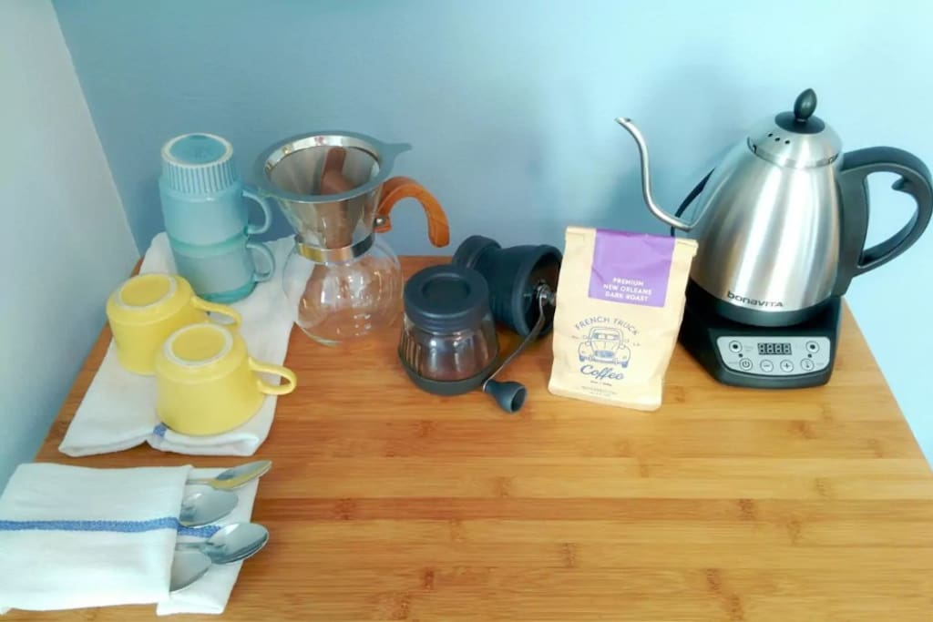 Locally-roasted pour over coffee and organic teas to start your day off right (self-serve)