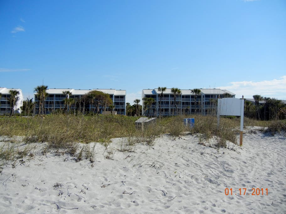 looking from the beach towards my units