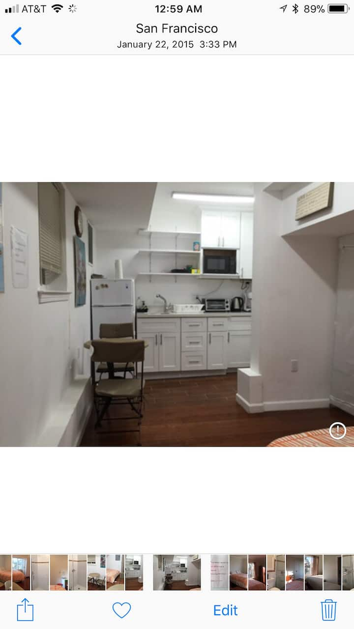 79aa Parkside cozy studio w/private bath and entry