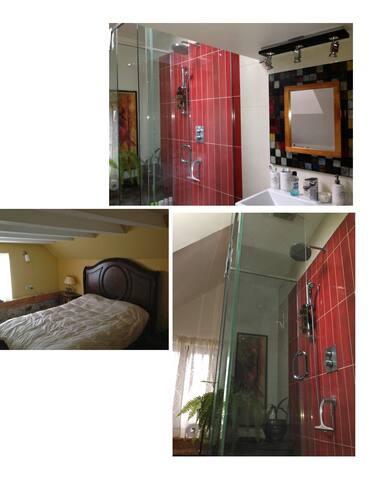 Glass shower and bath tub