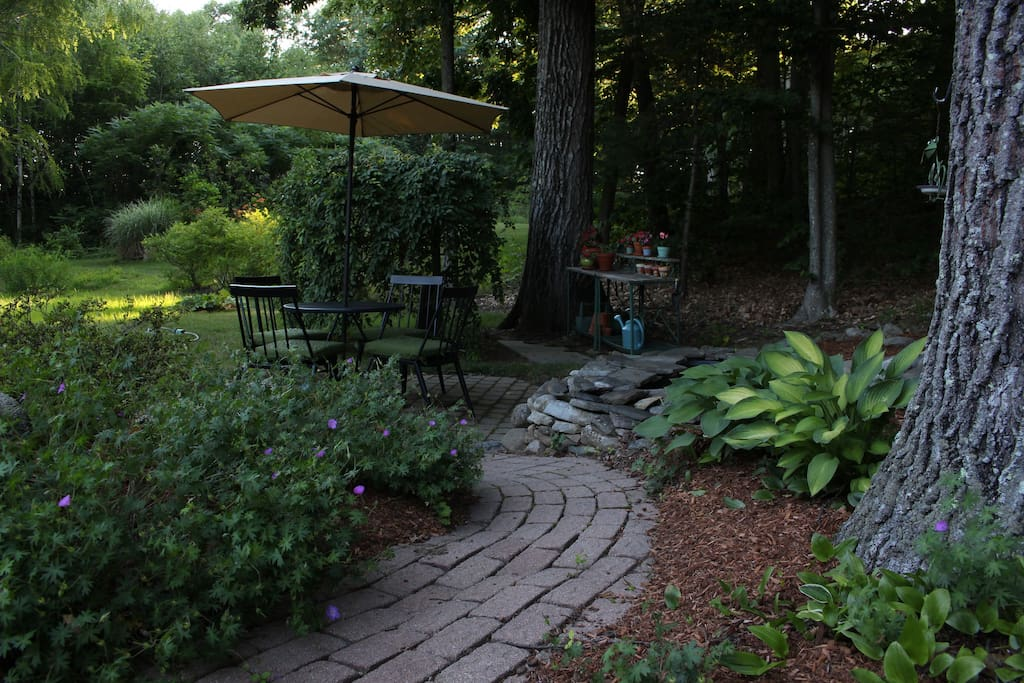 Patio with water garden