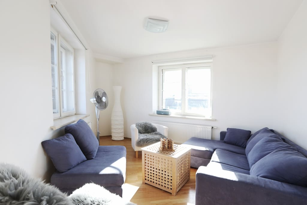 The top floor 'corner' studio room with plenty of light and big sofa bed can be also used as a gathering room.