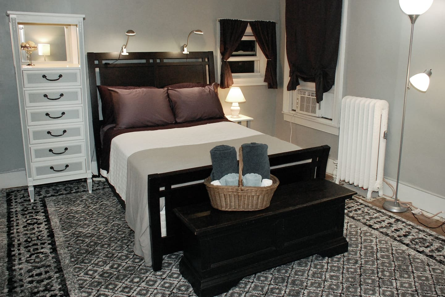 Private room features a full-sized bed.