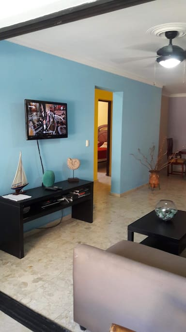 """32"""" Flat screen TV with cable and DVD player. There is also a good selection of DVD's"""