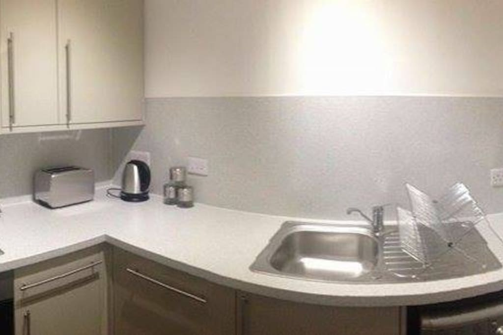 The white and silver kitchen!