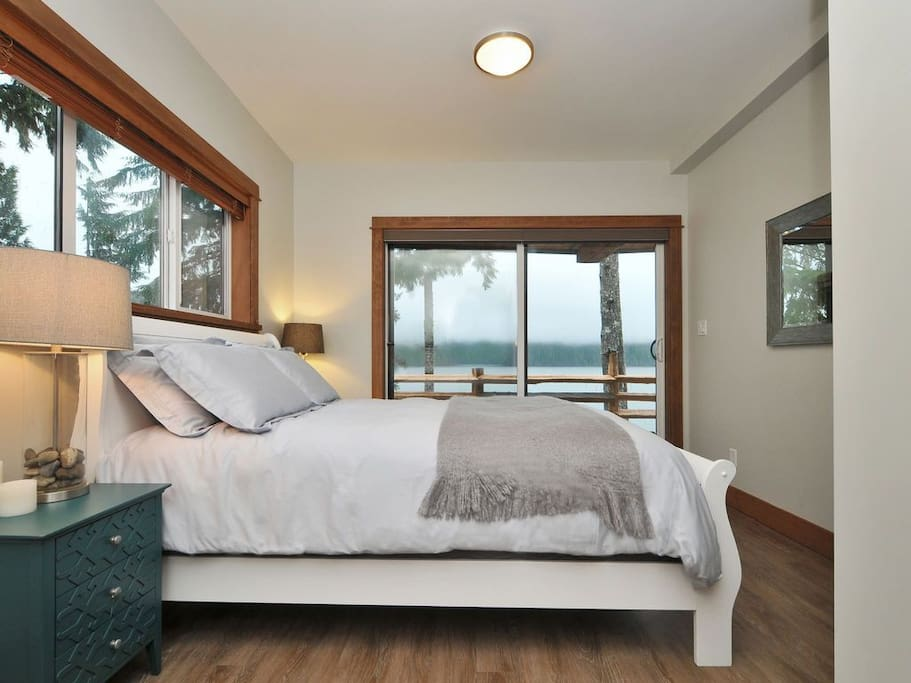 One of two oceanfront bedrooms.