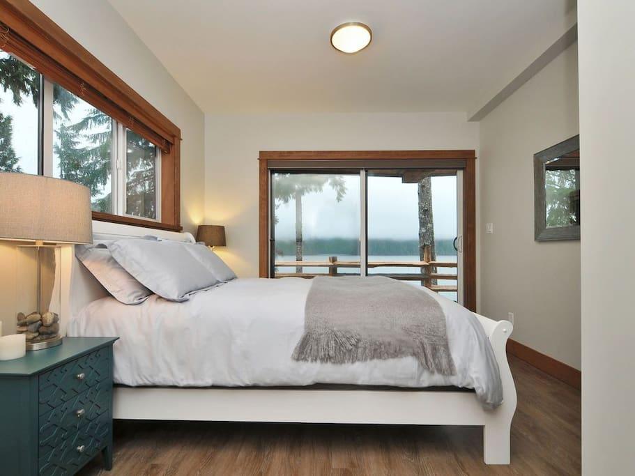 One of two oceanfront bedrooms.