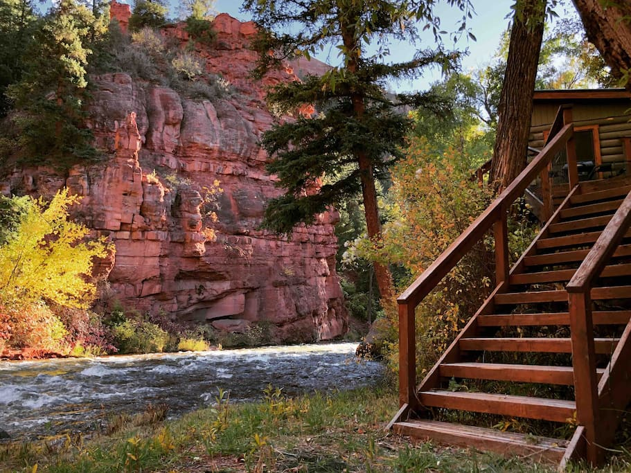 Staircase leading from the cabin to the river
