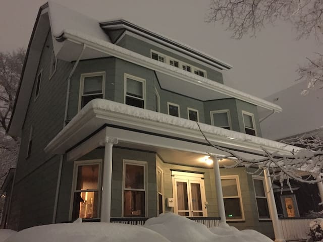 Front of house in winter. We live on the parlor floor.