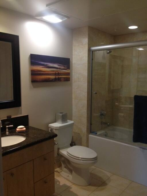 Private bathroom with sunken tub