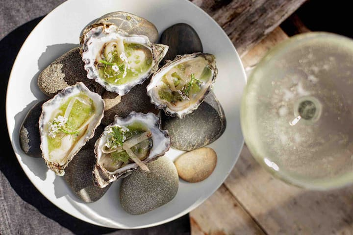 Fresh Yamba Bay Oysters.  Yamba has a massive seafood industry, this is where you find the best prawns in the world.  Yamba Prawns