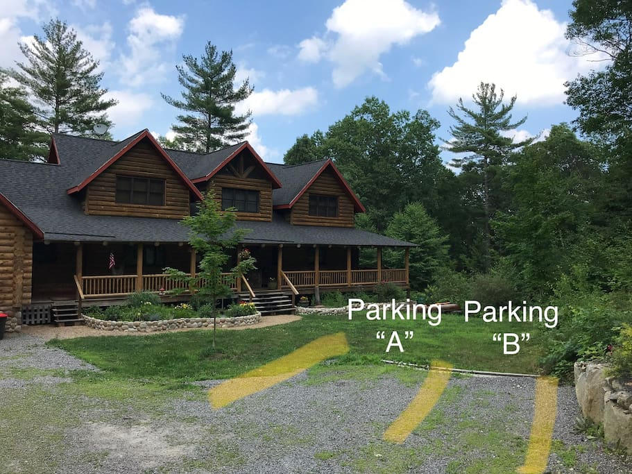 Parking in your spot leaving room for other guests.  If you need additional parking just ask we can work it out.