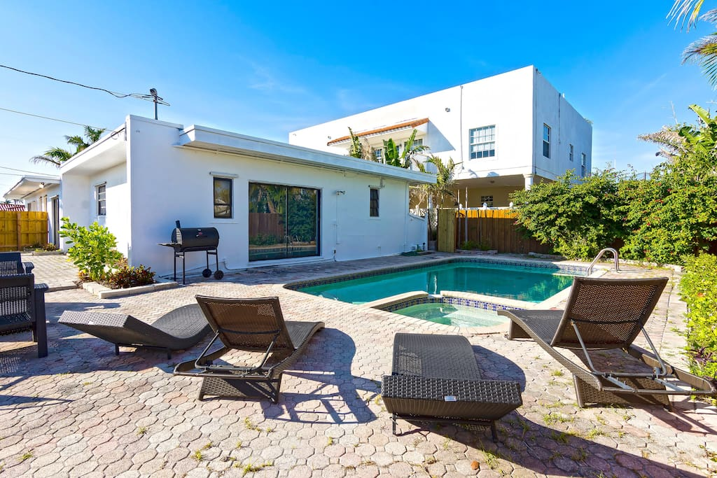 One of the many great amenities of this house is having its own private swimming pool! This tropical home allows guests to just lazily lounge around the pool to enjoy the Miami sun