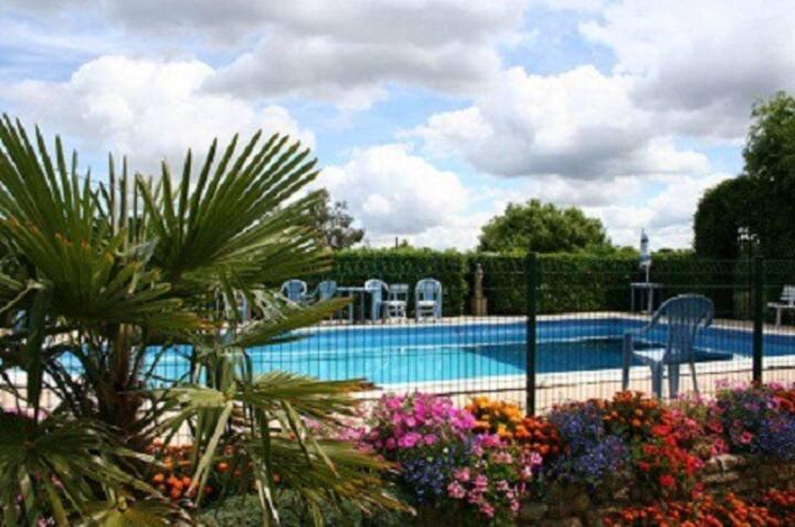 3 bedroom gite, outdoor pool & indoor heated pool