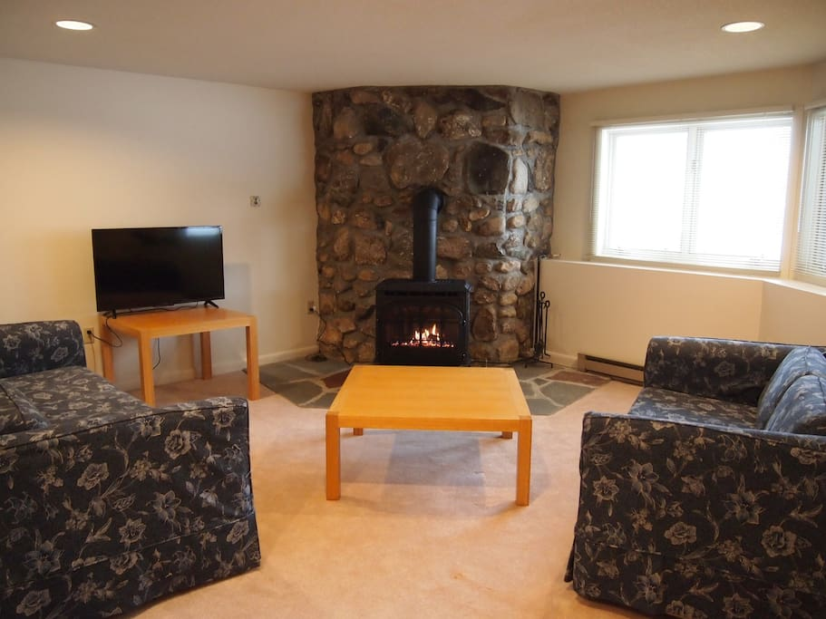Ground floor family room with gas fireplace, TV and games