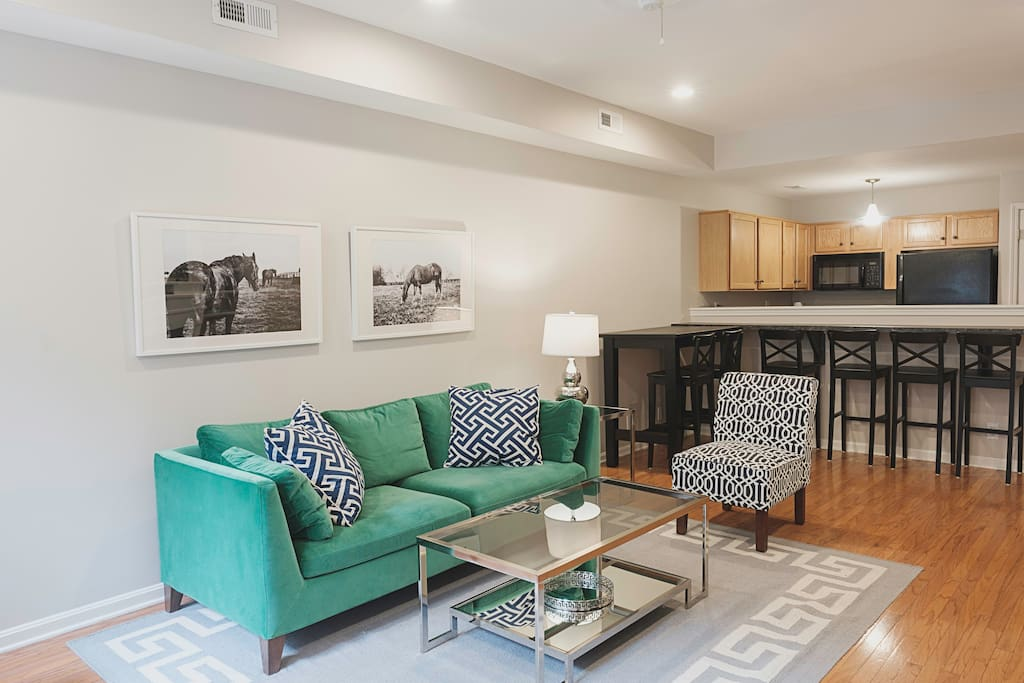 The open floor plan on the first floor is great for socializing while preparing meals.