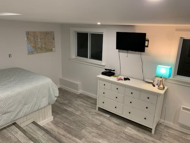 2nd private bedroom downstairs, with full windows and above ground